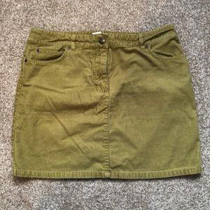 J. Crew Factory Green Corduroy Skirt size 6